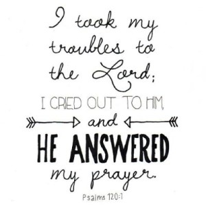 i took my troubles to the Lord, i cried out to him and he answered my prayer