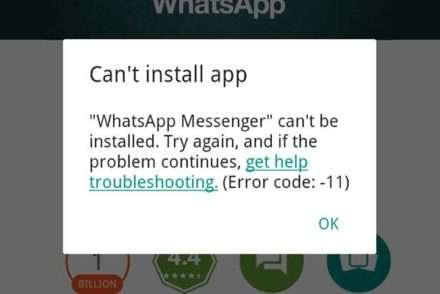 Whatsapp error code 11