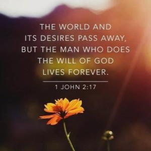 the world and its desires pass away but the man who does the will of god lives forever