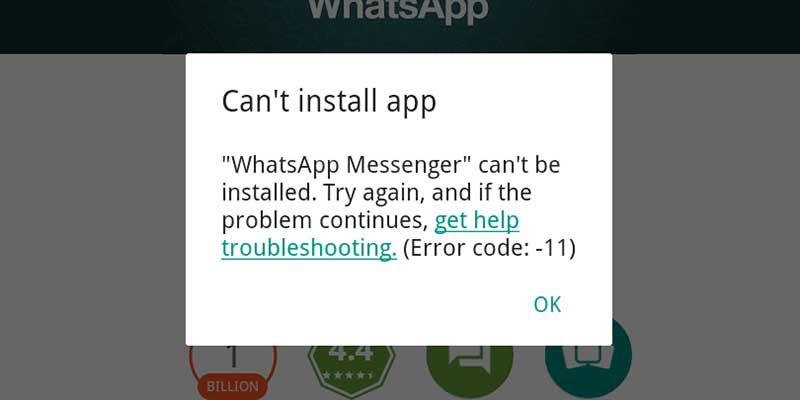 Whatsapp error code 11