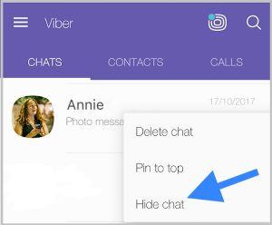 Hide chat from the Viber Chats screen