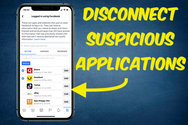 Disconnect or Remove Suspicious Applications from Facebook