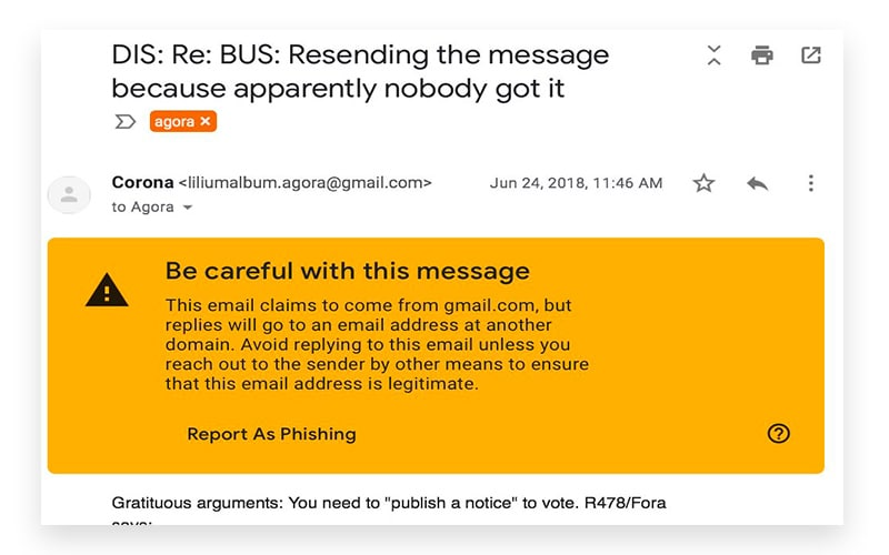 Google Gmail Phishing protection