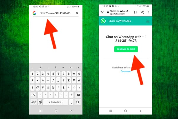 Sending Messaging to Numbers You Have Not Saved on Your Android