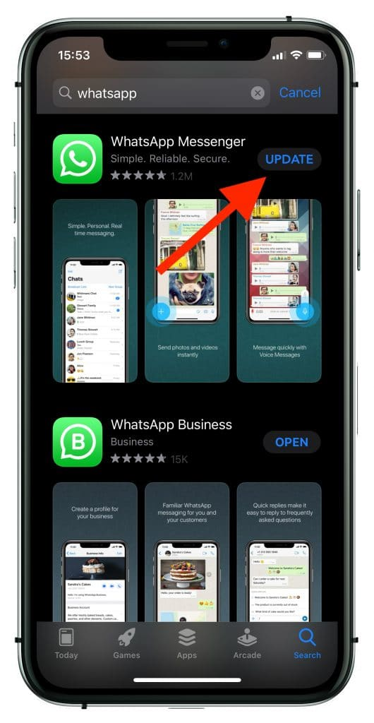 How to update WhatsApp on iPhone