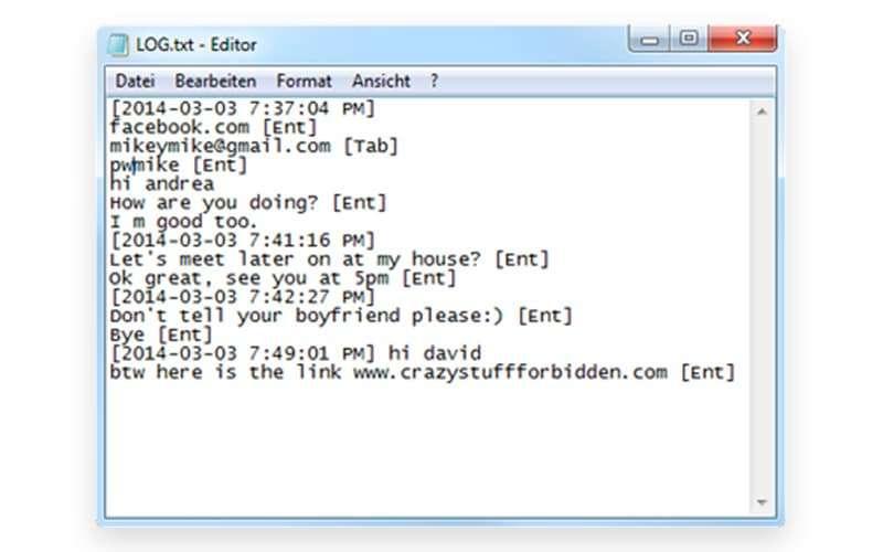 Keylogger Messenger Screenshot
