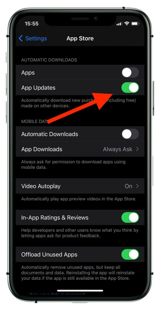activate your automatic updates on iPhone