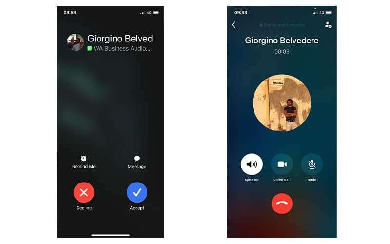 Receiving a Voice Call on WhatsApp