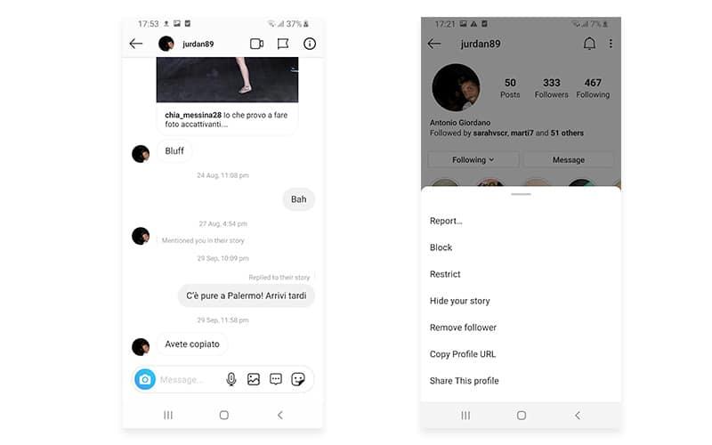 Block user on Instagram DM Android
