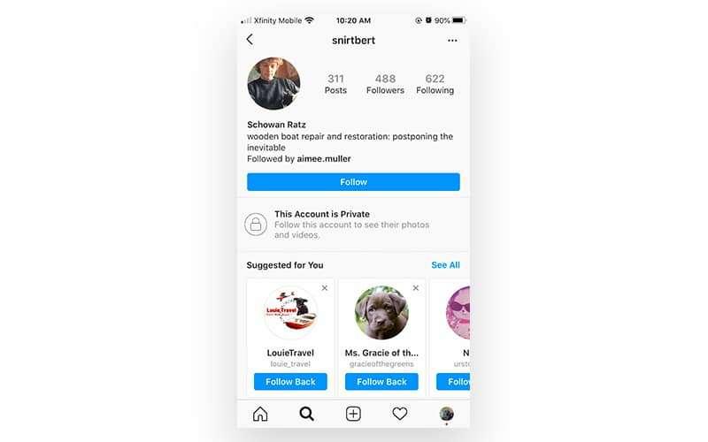 follow button on instagram